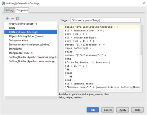 java string template intellij idea tostring templates for json output