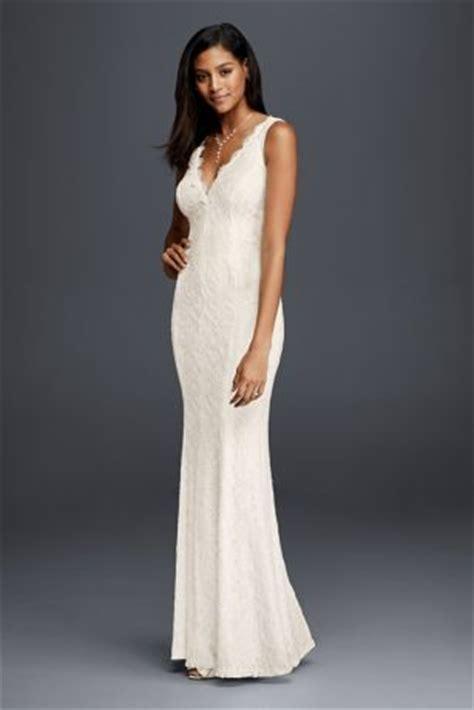 allover lace v neck sheath wedding dress | david's bridal