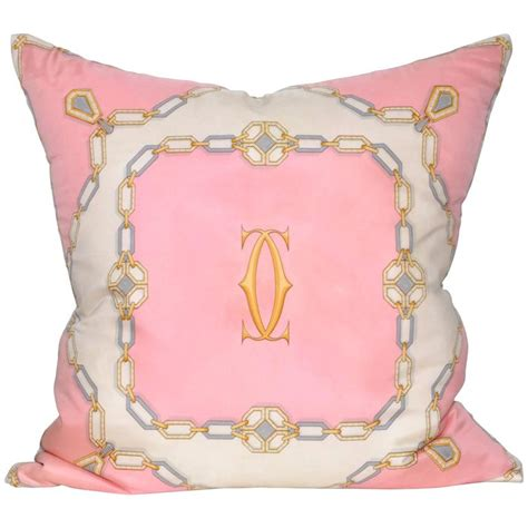 Pillow Scarf by Vintage Cartier Diamonds Pink Silk Scarf With Linen