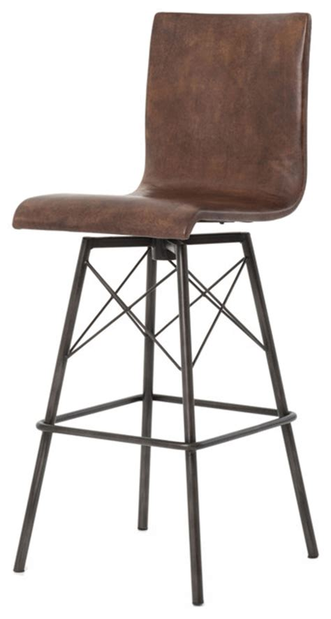 industries leather bar stool crenshaw industrial loft iron leather barstool