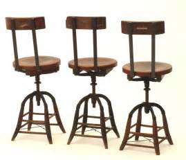 heywood wakefield oak and iron industrial stools early