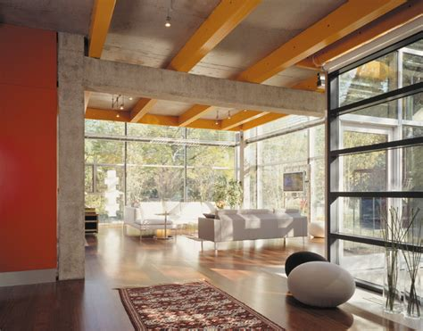 the living room chicago glass house industrial living room chicago by roszak architecture llc