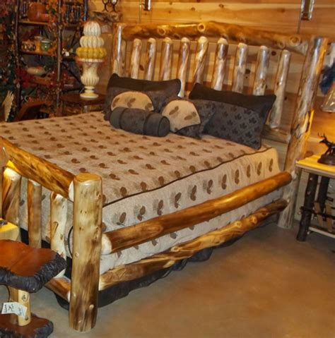 log furniture log bed with drawers rustic bed cabin decor