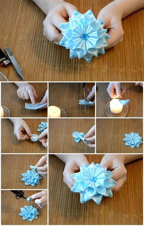 How To Make Handmade Flowers From Ribbon - how to make ribbon flower kanzashi