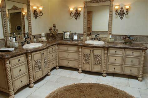 High end carved wood bathroom vanity cabinet storage furniture on large corner bathroom