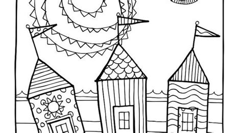 kpm doodles coloring page beach houses adult coloring