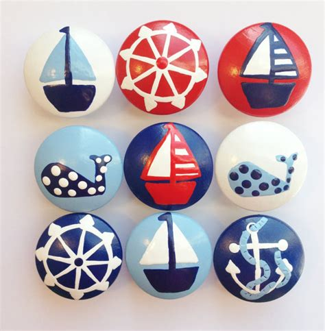 Nautical Door Knobs by Painted Nautical Drawer Knobs