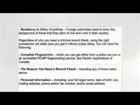 Canadian Criminal Record Check Report Canadian Criminal Record Checks