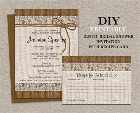 bridal shower recipe cards diy diy printable rustic bridal shower invitation with recipe card burlap and lace bridal shower