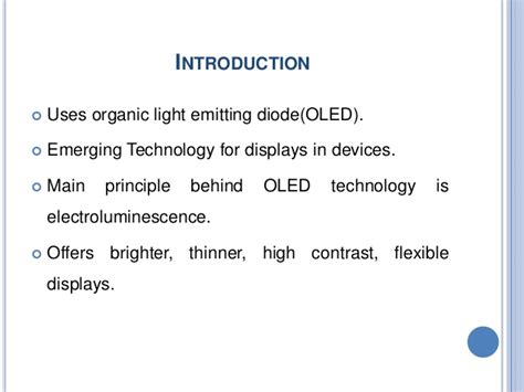 organic light emitting diodes seminar oled technology seminar ppt