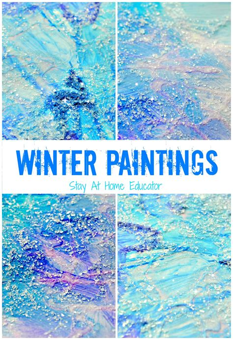 winter craft activities for sparkly winter paintings make gorgeous winter process