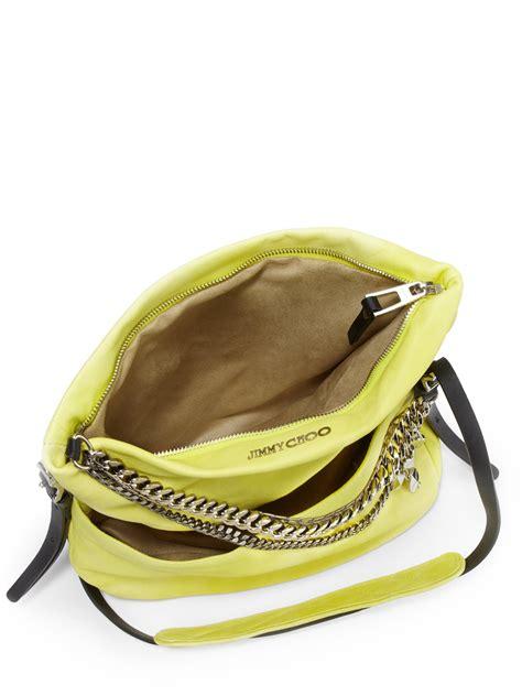 Jimmy Choo Dessy Holdall Handbag by Lyst Jimmy Choo Biker Small Shoulder Bag In Yellow