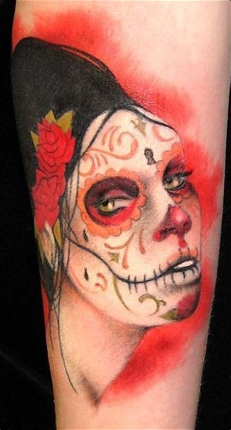 new tattoo very red new style black red day of the dead girl tattoo