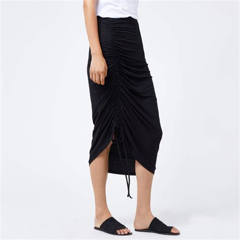 ruched front midi skirt warehouse