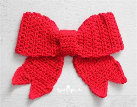 beautiful crochet red bow for christmas free pattern