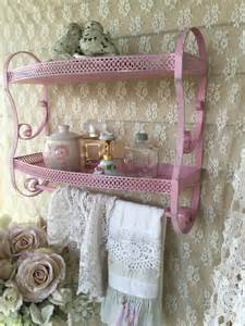 vintage pink metal bathroom shelf shabby chic baby girl pink