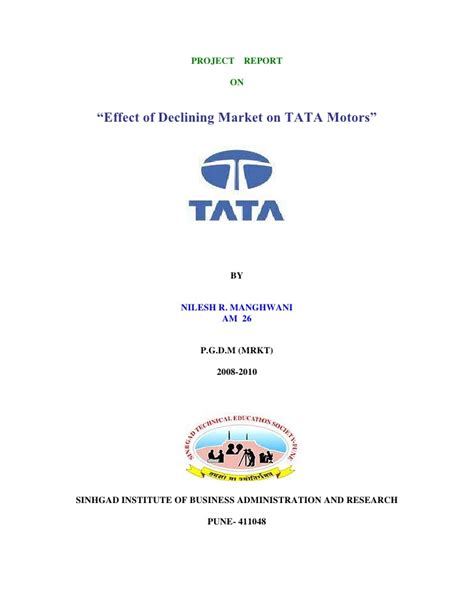 Tata Motors Project For Mba by 16038979 Project On Tata Motors By Nilesh Manghwani