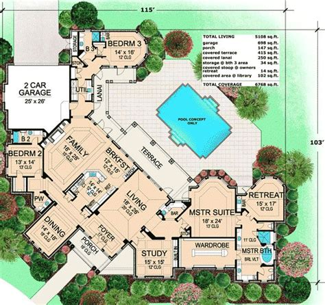luxury home plans with pictures best 25 house plans with pool ideas on one