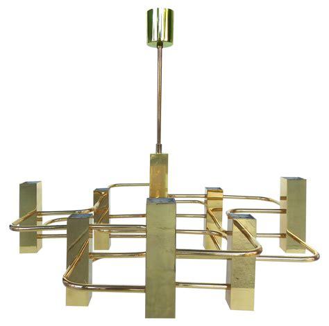 mid century chandelier gaetano sciolari brass mid century modern chandelier