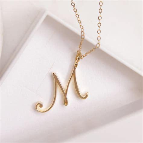 m initial necklace cursive m initial gold