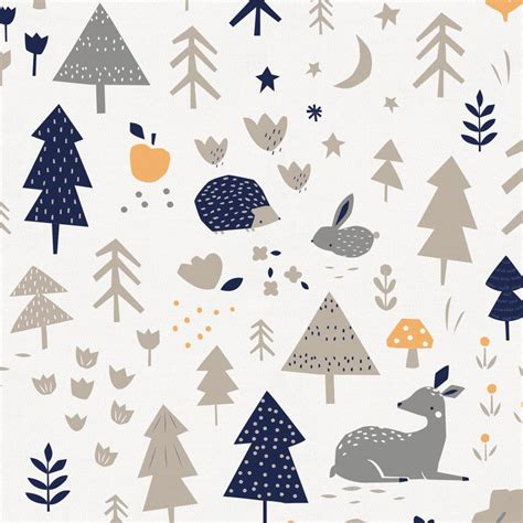 taupe and windsor navy baby woodland fabric by the yard