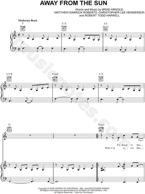 3 Doors Away From The Sun Lyrics by 3 Doors Quot Away From The Sun Quot Sheet In C Major
