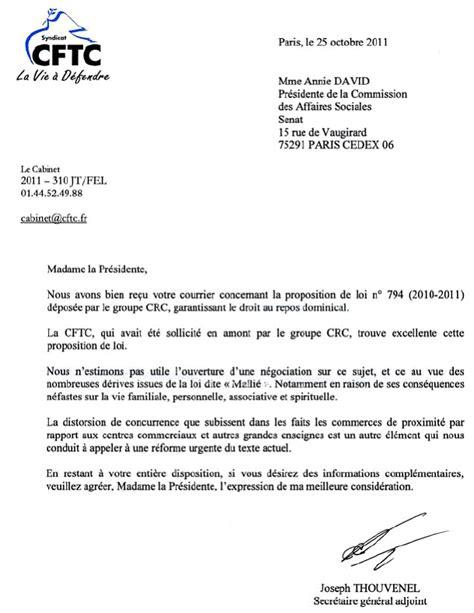 Demande De Repos Lettre Proposition De Loi Garantissant Le Droit Au Repos Dominical
