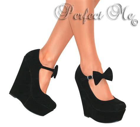 Wedges Black Bow Termurahh bow high wedge heels shoe platform strappy summer sandal size