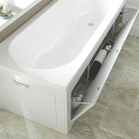 bathroom storage b q cooke lewis gloss white bath front panel departments