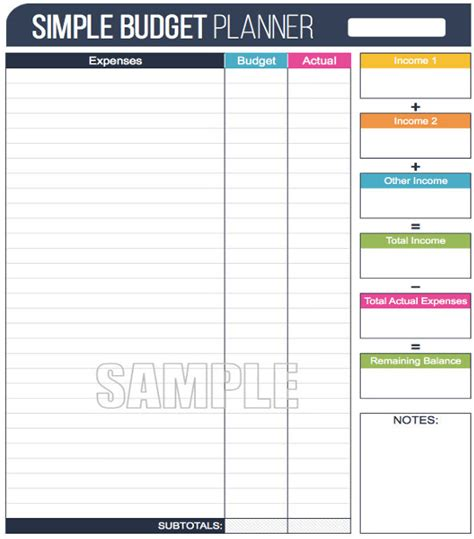Galerry sample of printable budget planner