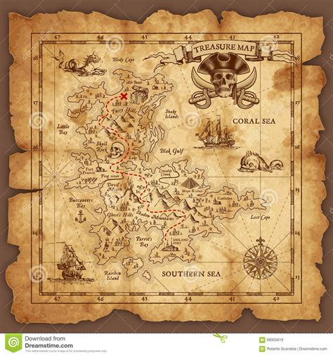 pirate treasure map vector pirate treasure map stock vector illustration of