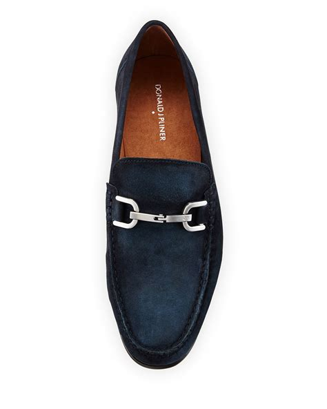donald pliner loafers donald j pliner niles 2 suede horsebit loafer in blue for