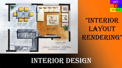 35 manual rendering 2d interior design layout