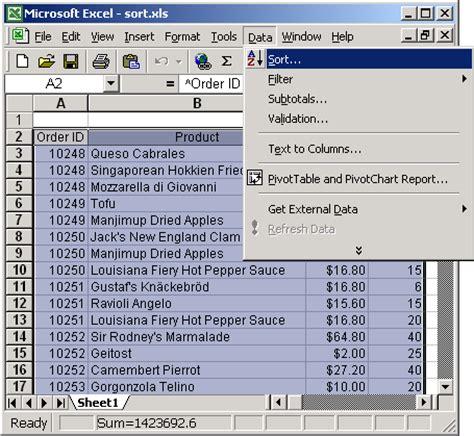 format excel alphabetical order ms excel 2003 sort data in alphabetical order based on 1