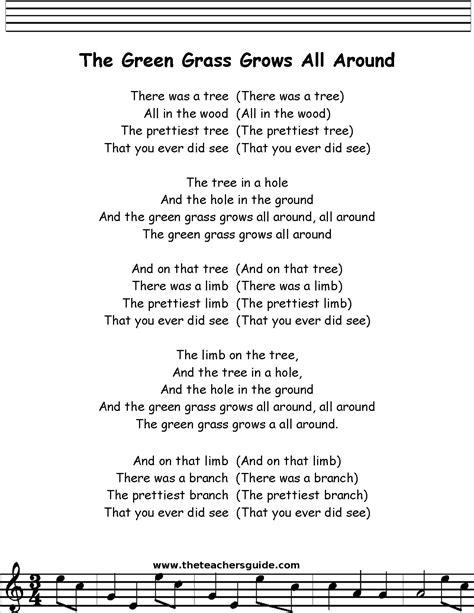 all around the tree lyrics green grass grows all around lyrics printout preschool