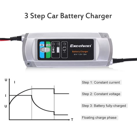 automatic 12v lead acid battery charger 3 step automatic battery charger maintainer 5a 6v 12v lead