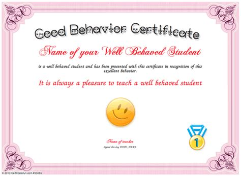 printable good job certificate templates