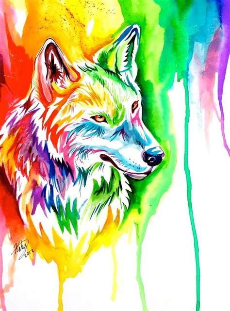 colorful wolf ebay rainbow wolf by lucky978 deviantart on