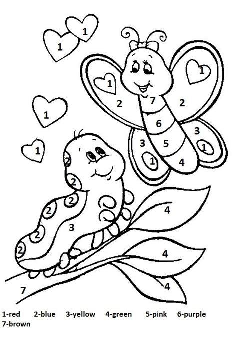 number coloring pages for kindergarten color by number spring worksheet 2 crafts and