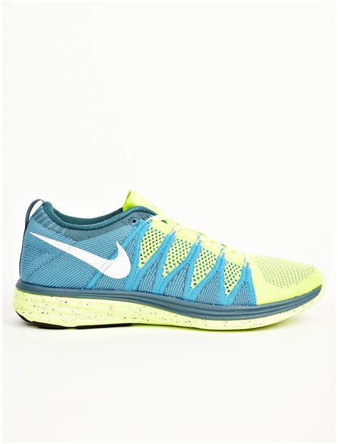 sneakers mens nike mens blue flyknit lunar 2 sneakers in blue for lyst