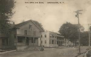 Jeffersonville Post Office by Post Office And Bank Jeffersonville Ny Postcard