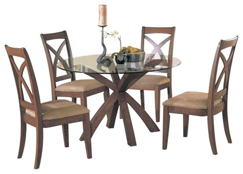 homelegance helena 3 piece round dining room set in cherry traditional dining sets by homelegance star hill 3 piece round glass dining room set
