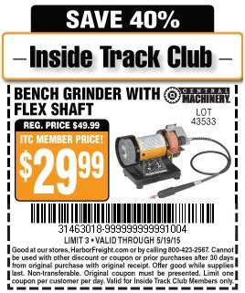 bench grinder with flex shaft harbor freight tools coupon database free coupons 25 percent off coupons toolbox