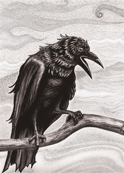 raven pen amp ink drawing poe designs