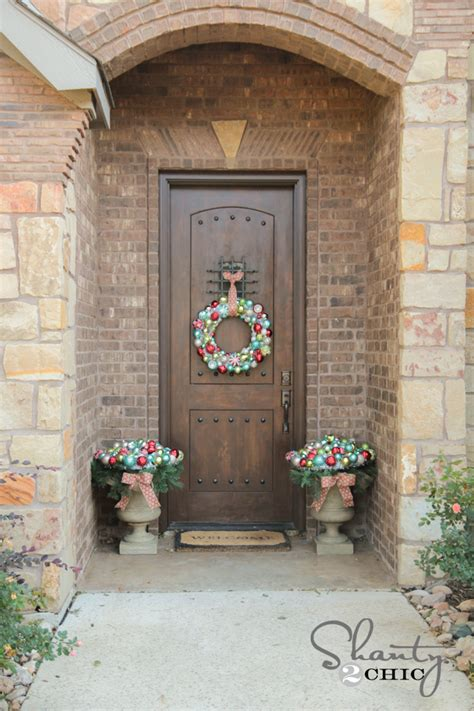 Front Door Christmas Decorating Shanty 2 Chic How To Decorate Front Door