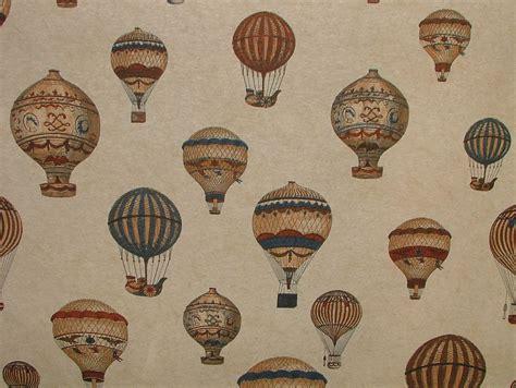 Designer Upholstery Fabric Uk Vintage Designer Linen Look Montgolfier Air Balloon