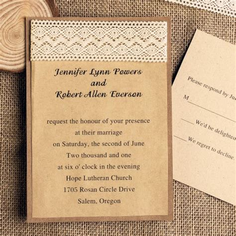 Craft Paper Wedding Invitations - diy lace wedding invitations starting from 1 79 at