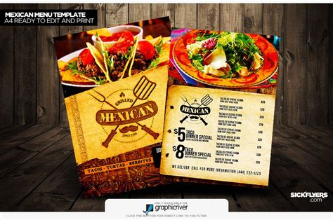 mexican food menu template mexican restaurant menu design