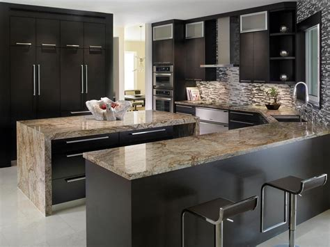 Kitchen : Stainless Steel Countertops Black Cabinets Deck