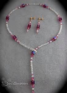 handmade swarovski cube lariat necklace earrings